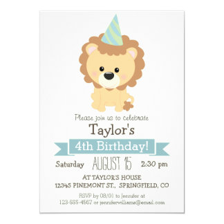 Baby Lion Kid's Birthday Party Invitation