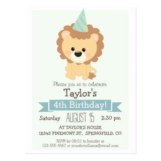 Baby Lion Kid's Birthday Party Invitation Post Card