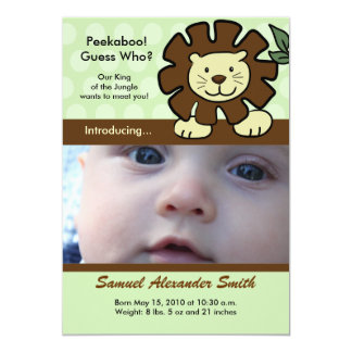 "BABY LION King of the Jungle Birth Announcement 5"" X 7"" Invitation Card"