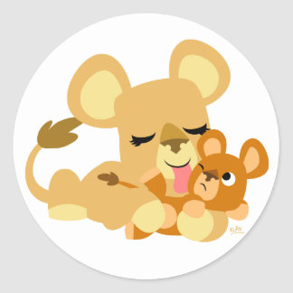 Baby Lion s Bath round sticker