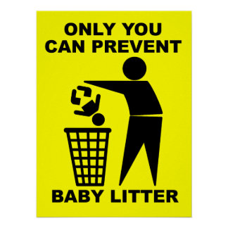 Baby Litter Funny Print Poster Sign Humor
