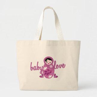 baby love babooshka doll in pink jumbo tote bag