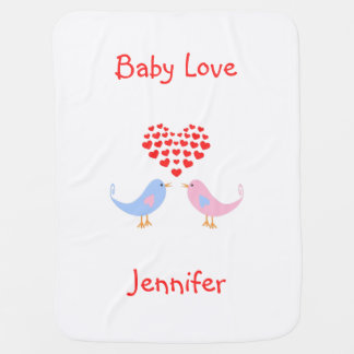 Baby love birds custom text name pramblanket