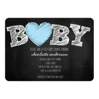 Baby Love Chalkboard Boy Chevron Shower Invitation