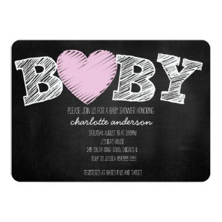 Baby Love Chalkboard Girl Chevron Shower Invite