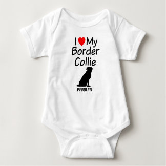 Baby Loves Border Collie Dog Baby Bodysuit