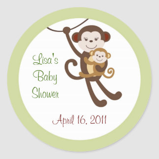 Baby Luv Monkey Jungle Envelope Seals Stickers