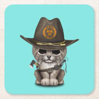 Baby Lynx Zombie Hunter Square Paper Coaster