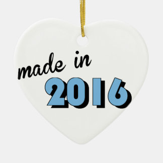 Baby Made In 2016 Blue Ceramic Heart Decoration