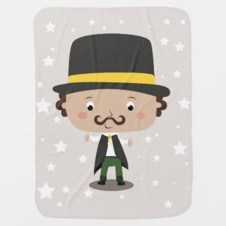 Baby magician with a hat mustache stars and cape receiving blanket