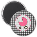 Baby Magnet - Grey Gingham & Pink Baby Carriage