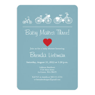 Baby Makes Three! Bicycle 13 Cm X 18 Cm Invitation Card