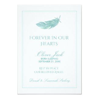Baby Memorial Forever in Our Hearts | Blue Feather 13 Cm X 18 Cm Invitation Card