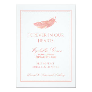 Baby Memorial Forever in Our Hearts | Pink Feather 13 Cm X 18 Cm Invitation Card