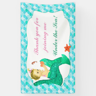 Baby Mermaid Tails Pink Teal Banner