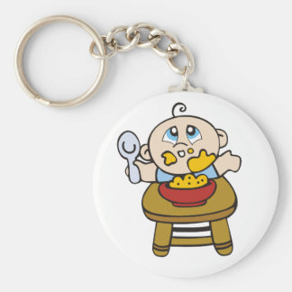 Baby Messy Eater Basic Round Button Key Ring