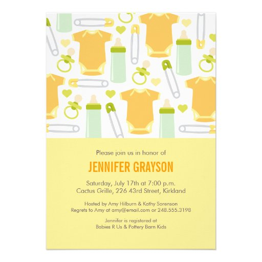 Baby Mix Baby Shower Invitation in Yellow Cards