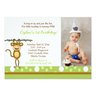 Baby Monkey Boys Photo Birthday Invitations