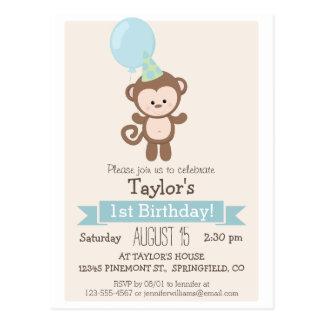 Baby Monkey Kid's Birthday Party Invitation Post Cards