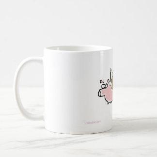 Baby Monkey riding backwards on a pig Basic White Mug