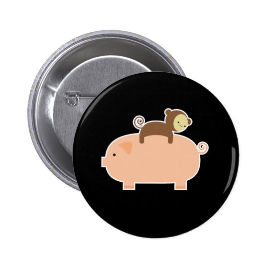 Baby Monkey Riding on a Pig 6 Cm Round Badge