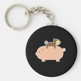 Baby Monkey Riding on a Pig Basic Round Button Key Ring