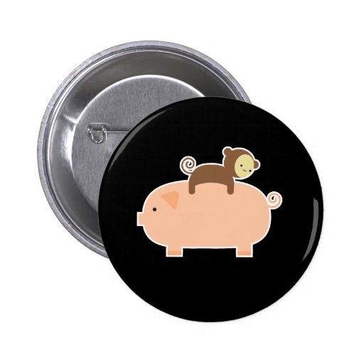 Baby Monkey Riding on a Pig Button