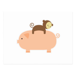 Baby Monkey Riding on a Pig Postcard