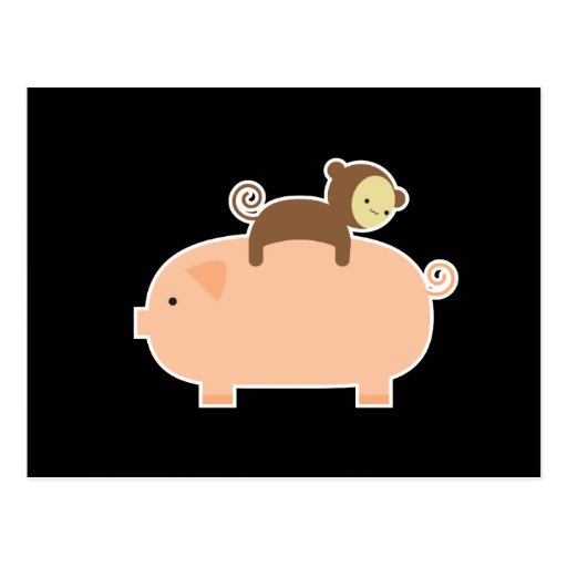 Baby Monkey Riding on a Pig Post Cards