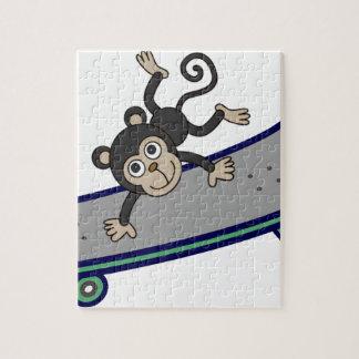 baby Monkey riding skateboards Puzzle