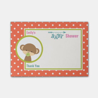 Baby Monkey with a Pacifier Baby Shower Thanks Post-it Notes