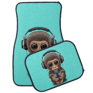 Baby Monkey with Headphones and Cell Phone Car Mat