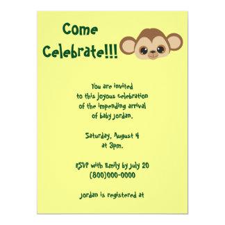 Baby Monkey Yellow Baby Shower Card