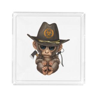 Baby Monkey Zombie Hunter Acrylic Tray