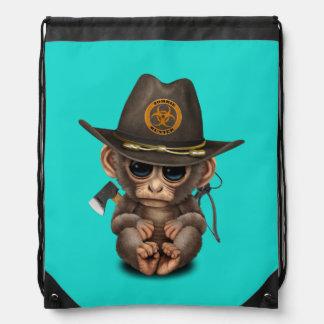 Baby Monkey Zombie Hunter Drawstring Bag
