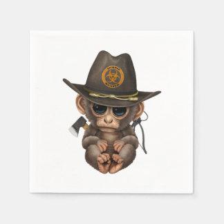Baby Monkey Zombie Hunter Paper Napkin