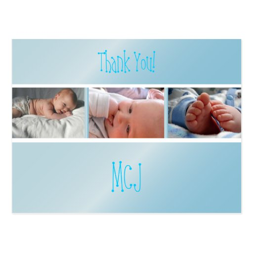 Baby monogram thank you, insert your photos post cards