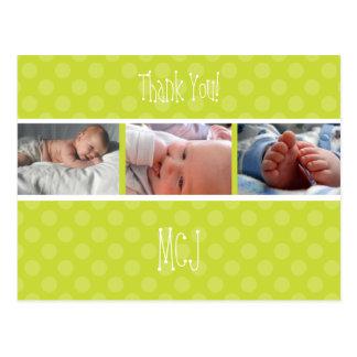 Baby monogram thank you, polka dots postcard