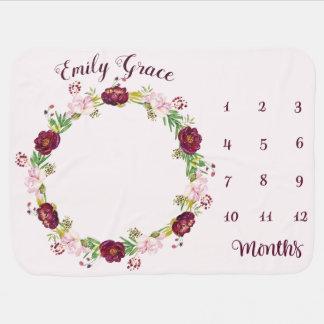 Baby Monthly Milestone Blanket Peony
