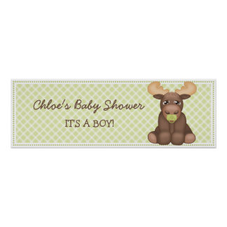 Baby Moose Baby Shower Banner Poster