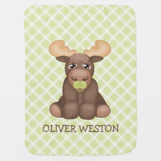 Baby Moose Personalized Blanket