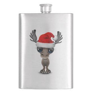 Baby Moose Wearing a Santa Hat Hip Flask