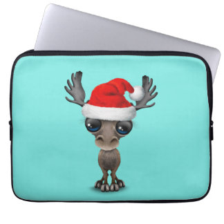 Baby Moose Wearing a Santa Hat Laptop Sleeve