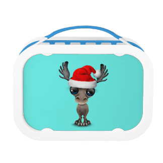 Baby Moose Wearing a Santa Hat Lunch Box