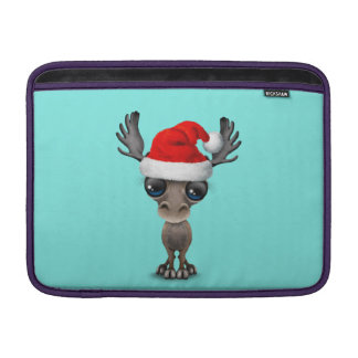 Baby Moose Wearing a Santa Hat MacBook Sleeve