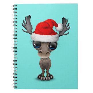 Baby Moose Wearing a Santa Hat Notebook