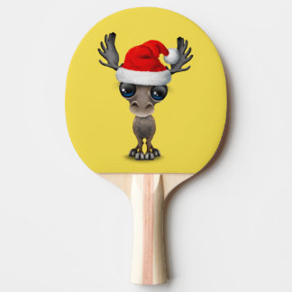 Baby Moose Wearing a Santa Hat Ping Pong Paddle