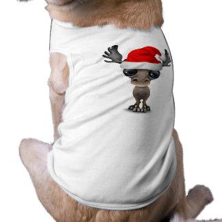 Baby Moose Wearing a Santa Hat Shirt