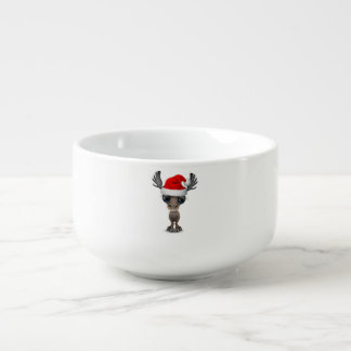 Baby Moose Wearing a Santa Hat Soup Mug