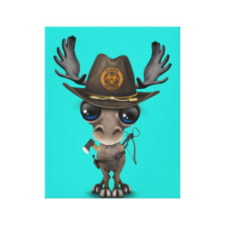 Baby Moose Zombie Hunter Canvas Print